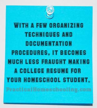 building a college résumé practical homeschooling magazine