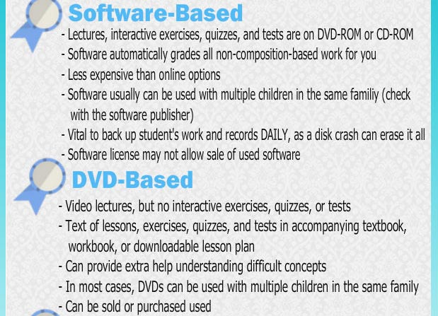 Software-based curriculum and DVD-based curriculum