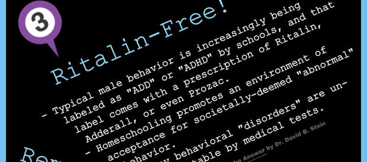 "Ritalin-Free! - Male behavior is labeled as ""ADD"" or ""ADHD"" by schools, and that label comes with a prescription of Ritalin, Adderall, or even Prozac."