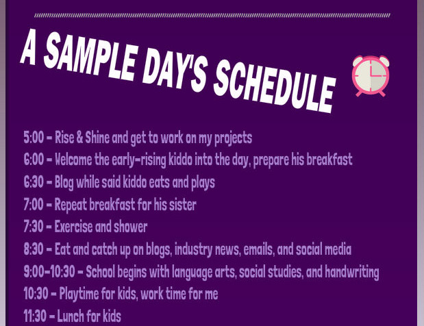 Sample work/homeschool morning schedule
