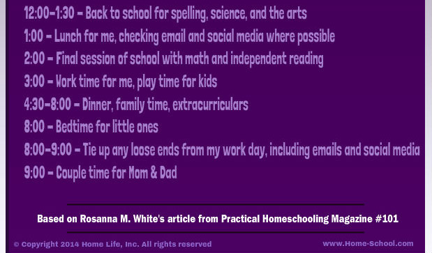 Sample work/homeschooling afternoon schedule